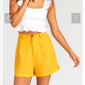 Stewart Shorts Canary Yellow Linen